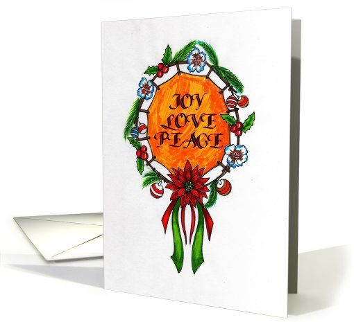 Poinsettia Holiday Mandala: Joy Love Peace Card (724954