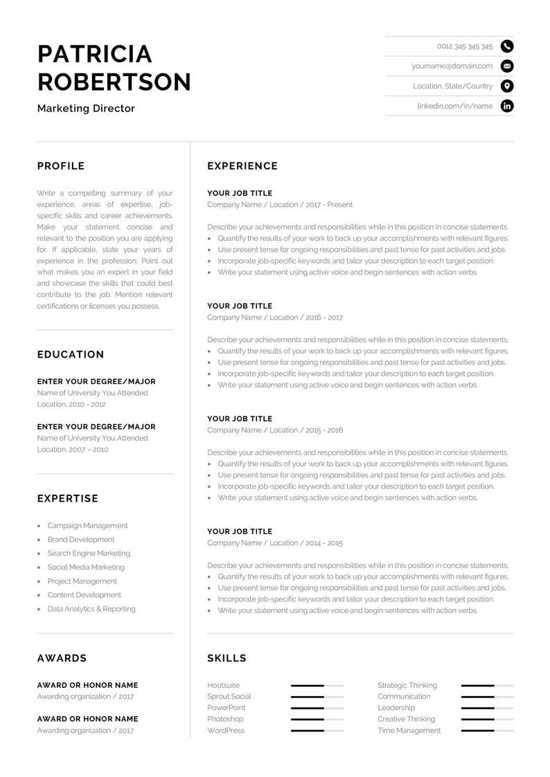 Professional 1 Page Resume Template Modern One Page Cv Etsy In 2020 Cv Words Resume Template Professional Good Resume Examples