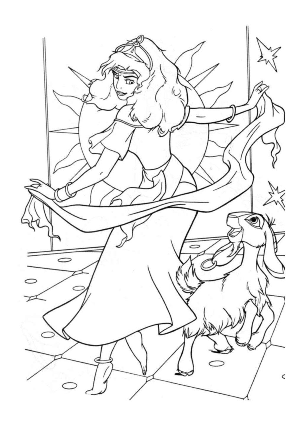 Princess esmeralda coloring pages - Esmeralda Her Goat Djali Coloring Page