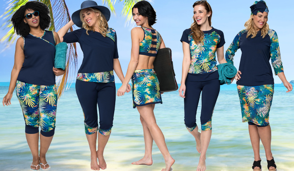 3813755a2d4 A large selection of modest swimwear options for women   girls including  plus sizes! Mix and match tops   bottoms all UV protective.