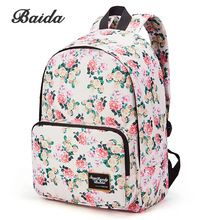 750746968 BAIDA Marca Moda Floral Print Mochila School Book Bolsas de Color Amarillo  y Rosa Flor de Rose Girls High School Mochilas para Adolescente(China  (Mainland))