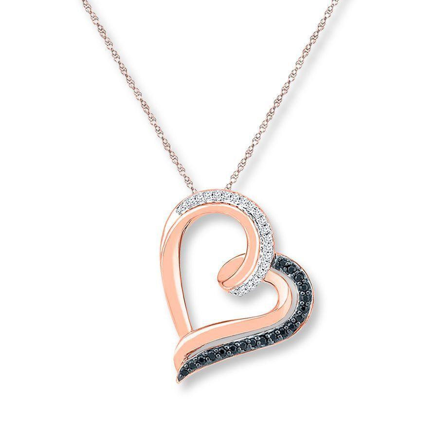 Artistry Diamonds Diamond Heart Necklace 1/6 ct tw Black/White 10K White Gold q7Boa