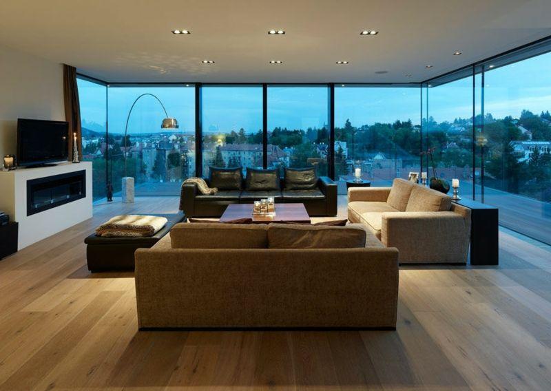 Industrieparkett aus Eiche als Bodenbelag u2013 25 stilvolle Ideen für - wohnzimmer ideen parkett