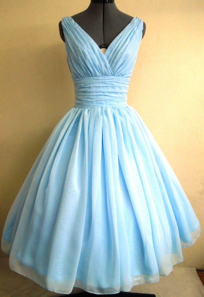 Simple and elegant 50s style dress. Light Sky Blue chiffon overlay ...