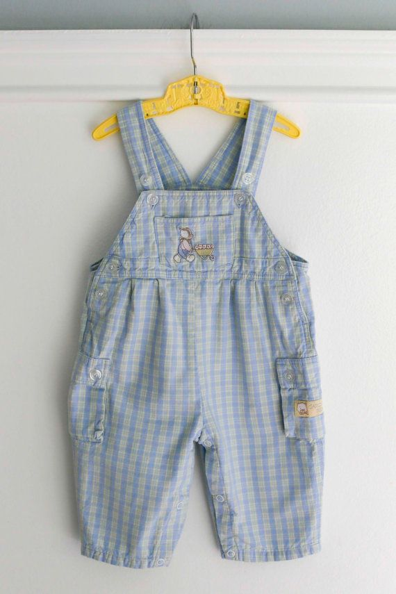 9667e19002a8 6-9 months  Light Blue Plaid Romper Overalls with Bear and ...