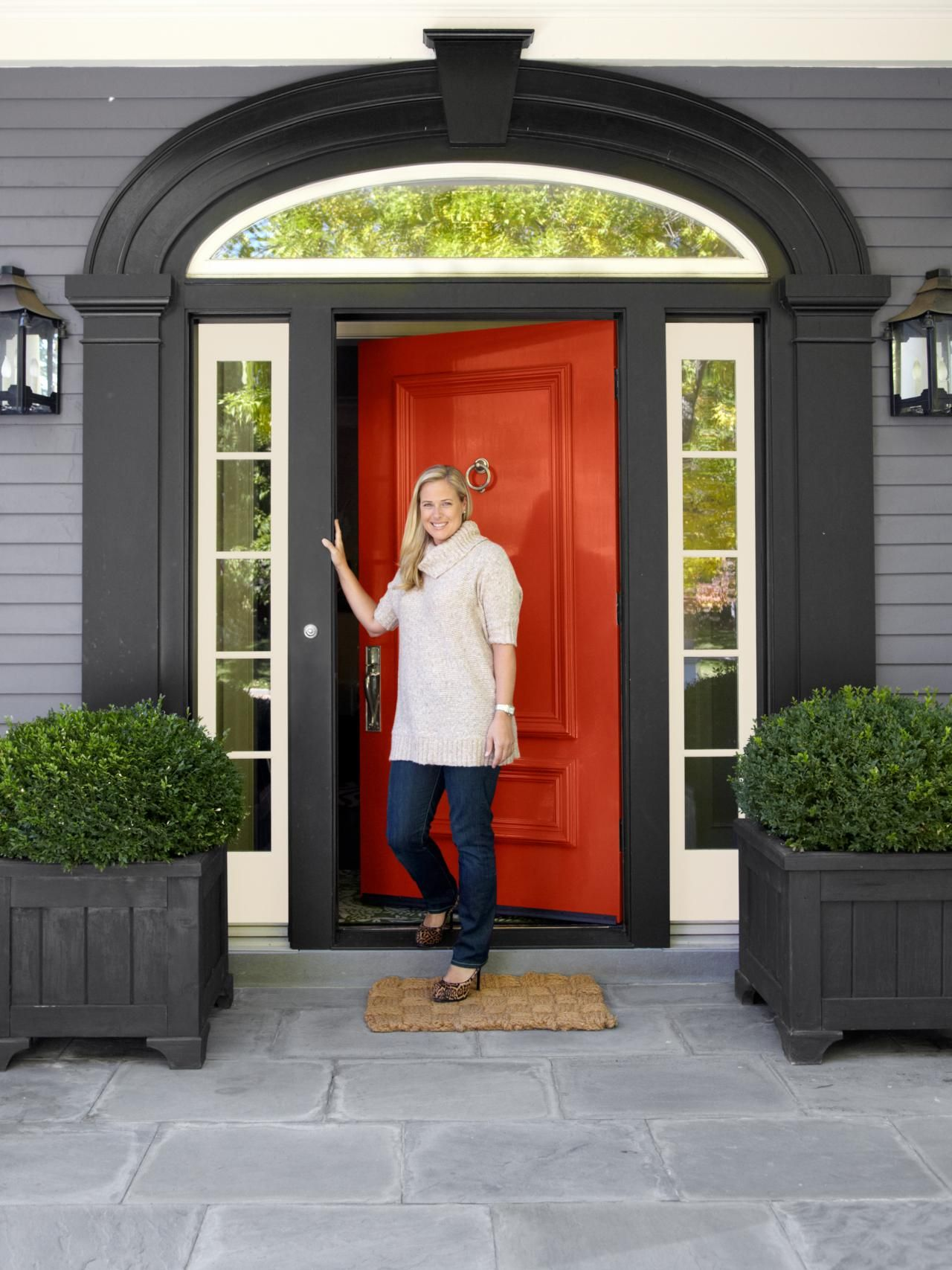 White House Gray Shutters Pink Door