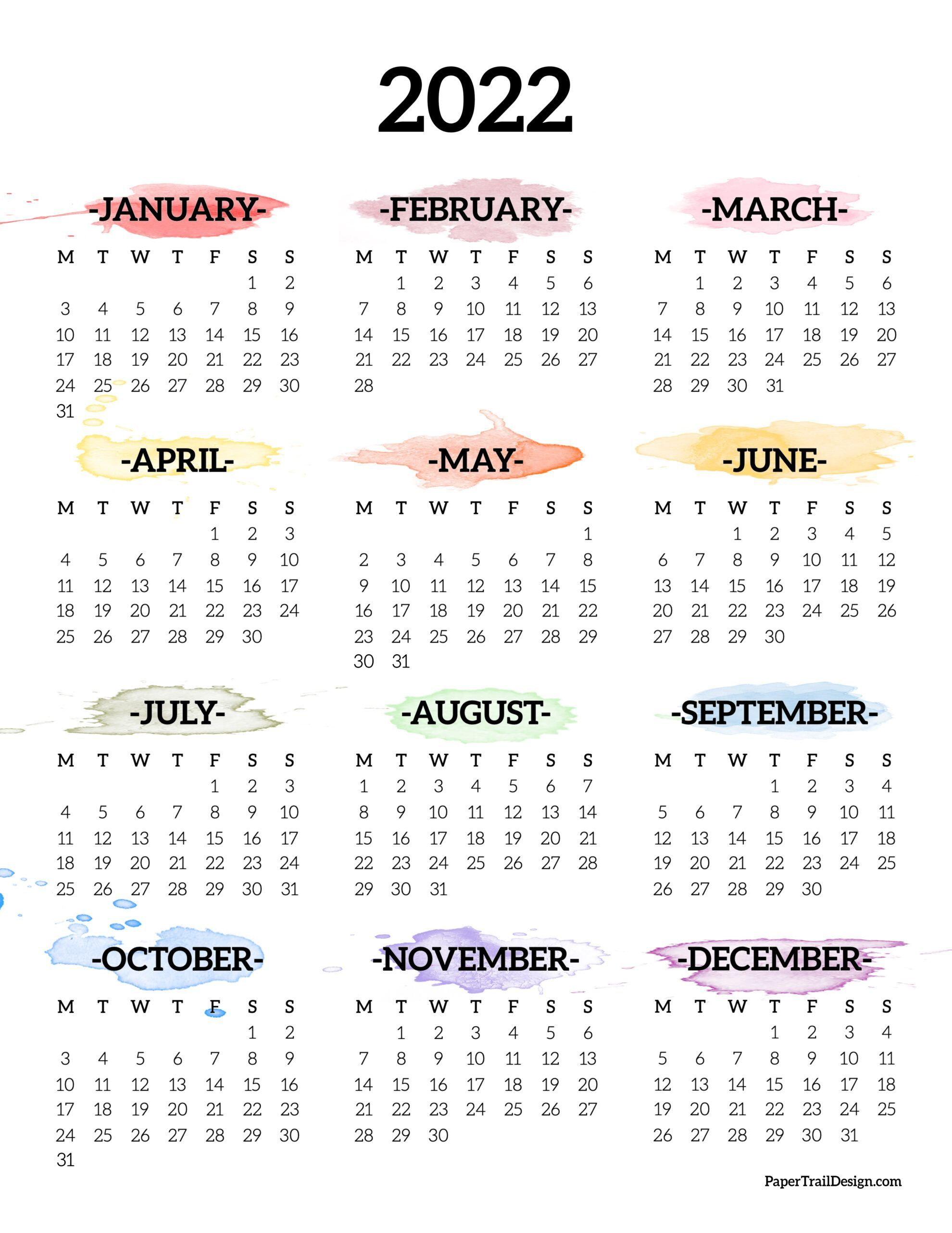 2022 Monday Start Calendar One Page Paper Trail Design In 2021 Daily Planner Pages Planner Pages Writing Paper Printable Stationery