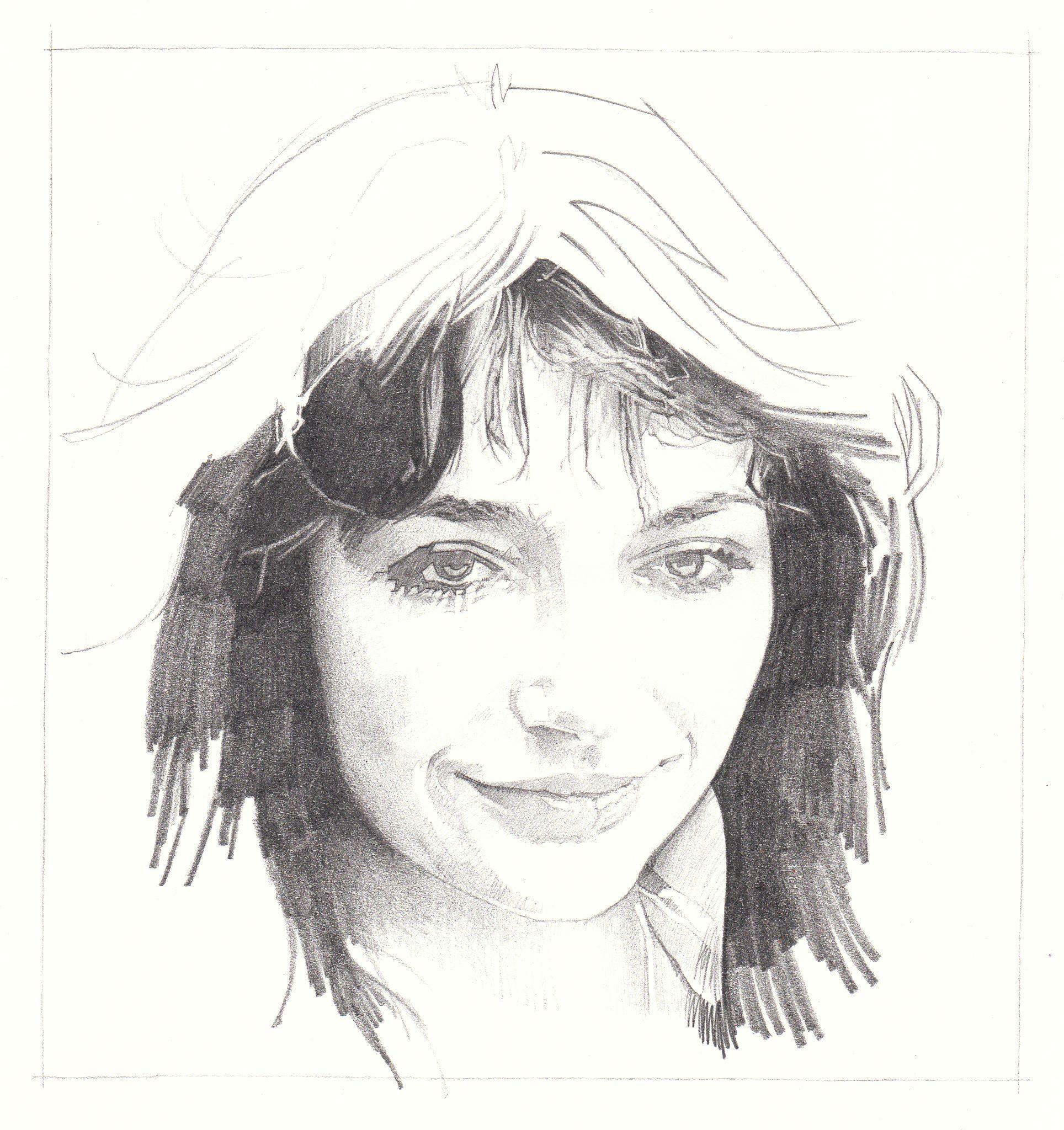 Kate Bush portrait by Gary Mills, pencil & graphite on Bristol board