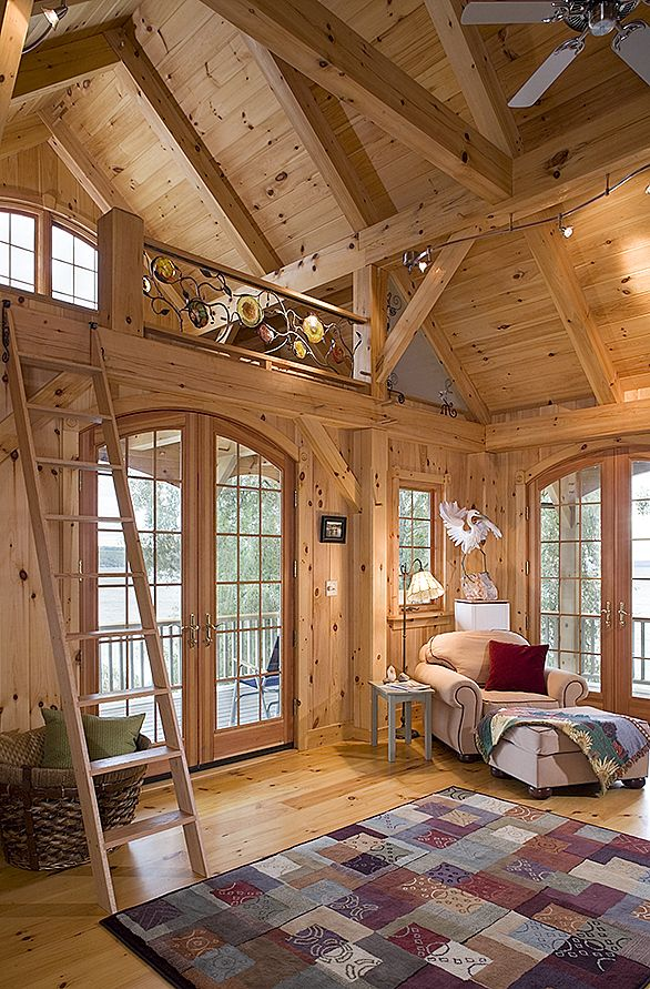 Interior of beach house love the timber frame look http for Timber frame home interiors