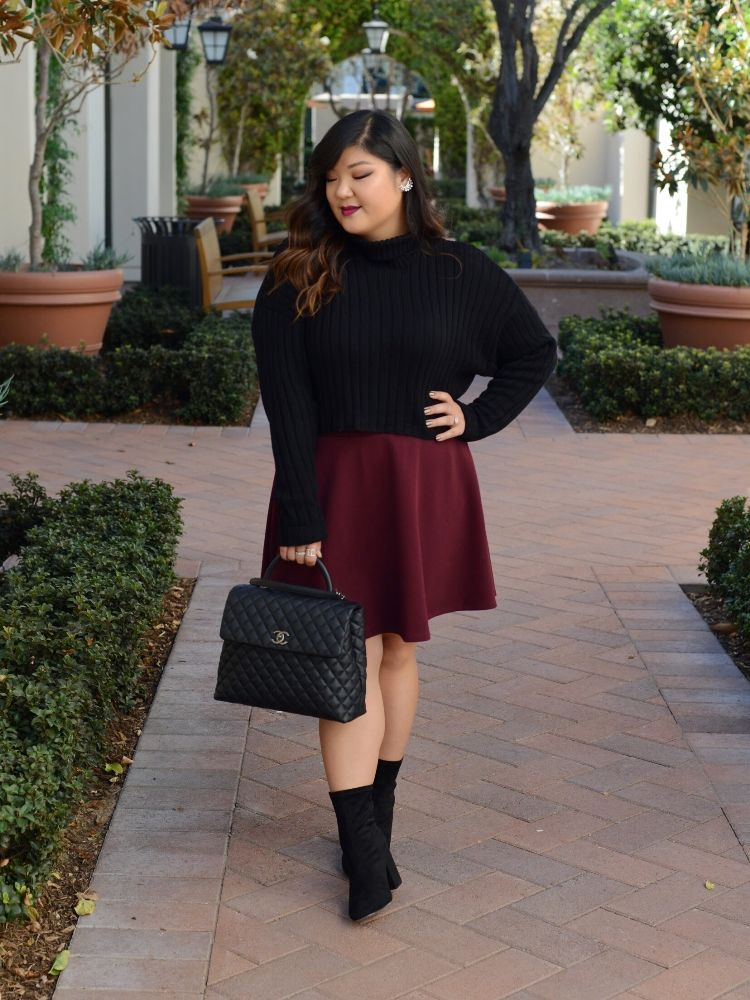a2c391ad5 Curvy Girl Chic Plus Size Chunky Cropped Turtleneck Sweater and Burgundy  Skirt Chanel Coco Handle Large Wide Width Sock Boots