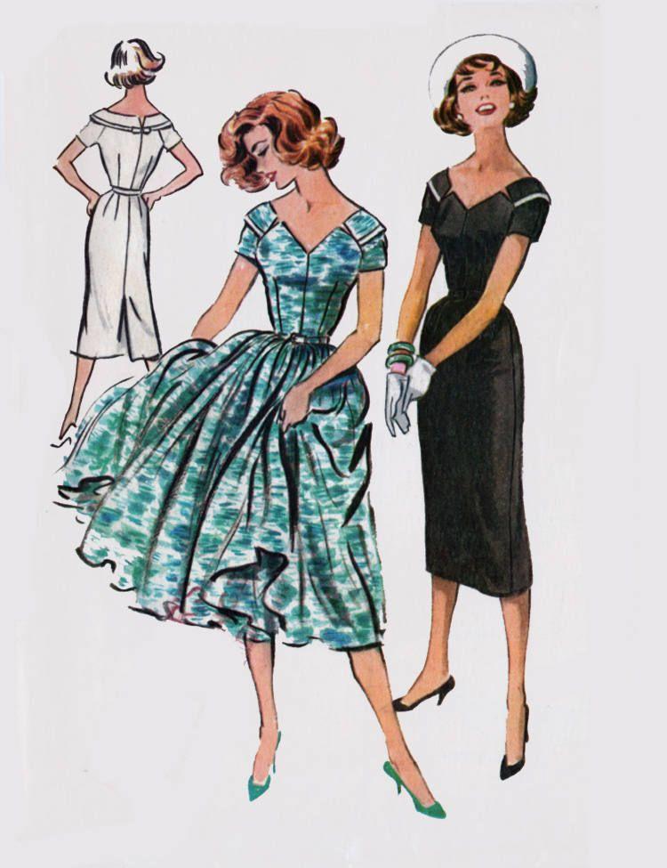 "Vintage Années 1950 sewing pattern robe avec V dos Rockabilly buste 36/"""