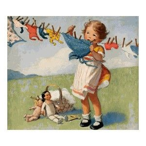 washing doll clothes on a windy day | Vintage illustration ...