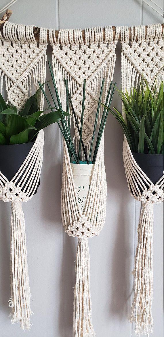 Clove Hitch triple plant hanger / Small macrame wall hanging / macrame plant hanger / ombre / dip dyed plant hanger / home decor