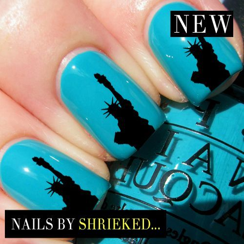 Statue Of Liberty Decal Manicure Water Transfer Celebrity Style