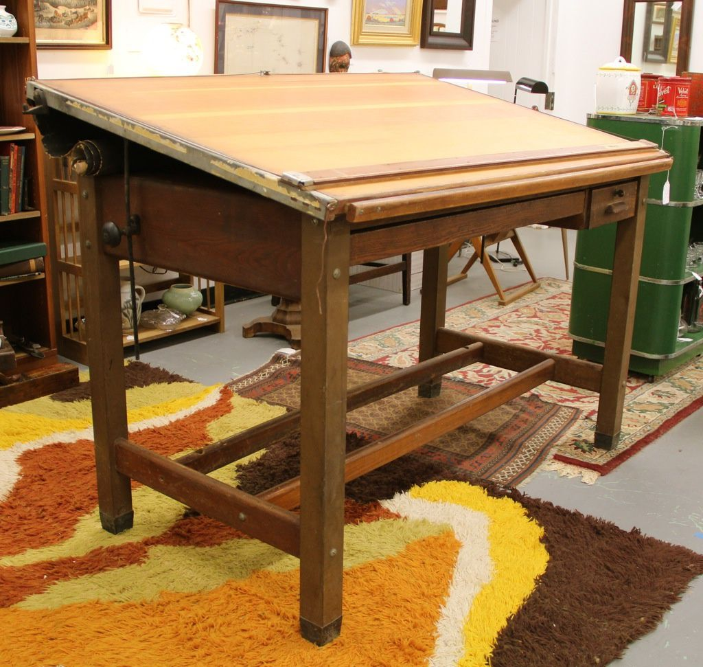 Vintage Hamilton Drafting Table. Steal legs, rest is oak. We have one  exactly - Vintage Hamilton Drafting Table. Steal Legs, Rest Is Oak. We Have
