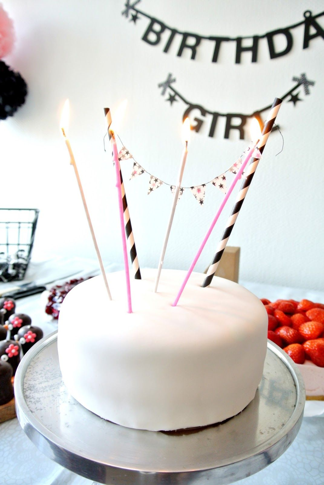 Birthday Cake Banner Black White Pink Pastry Pinterest Cake