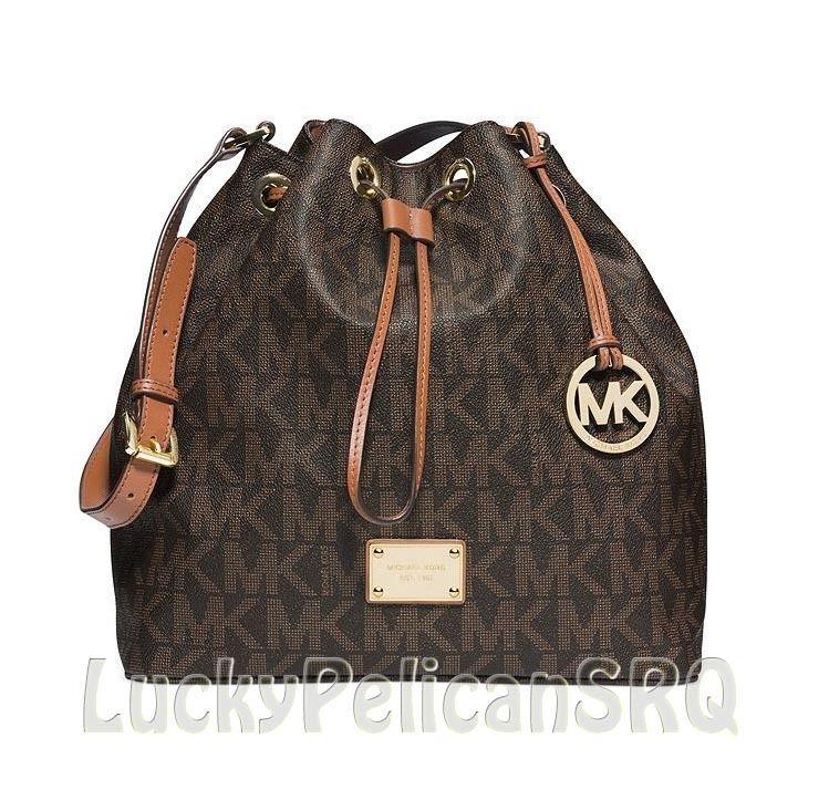 90fb9a4c27 Michael Kors Jules Large MK Signature PVC Drawstring Shoulder Bag Brown NWT   MichaelKors  ShoulderBag