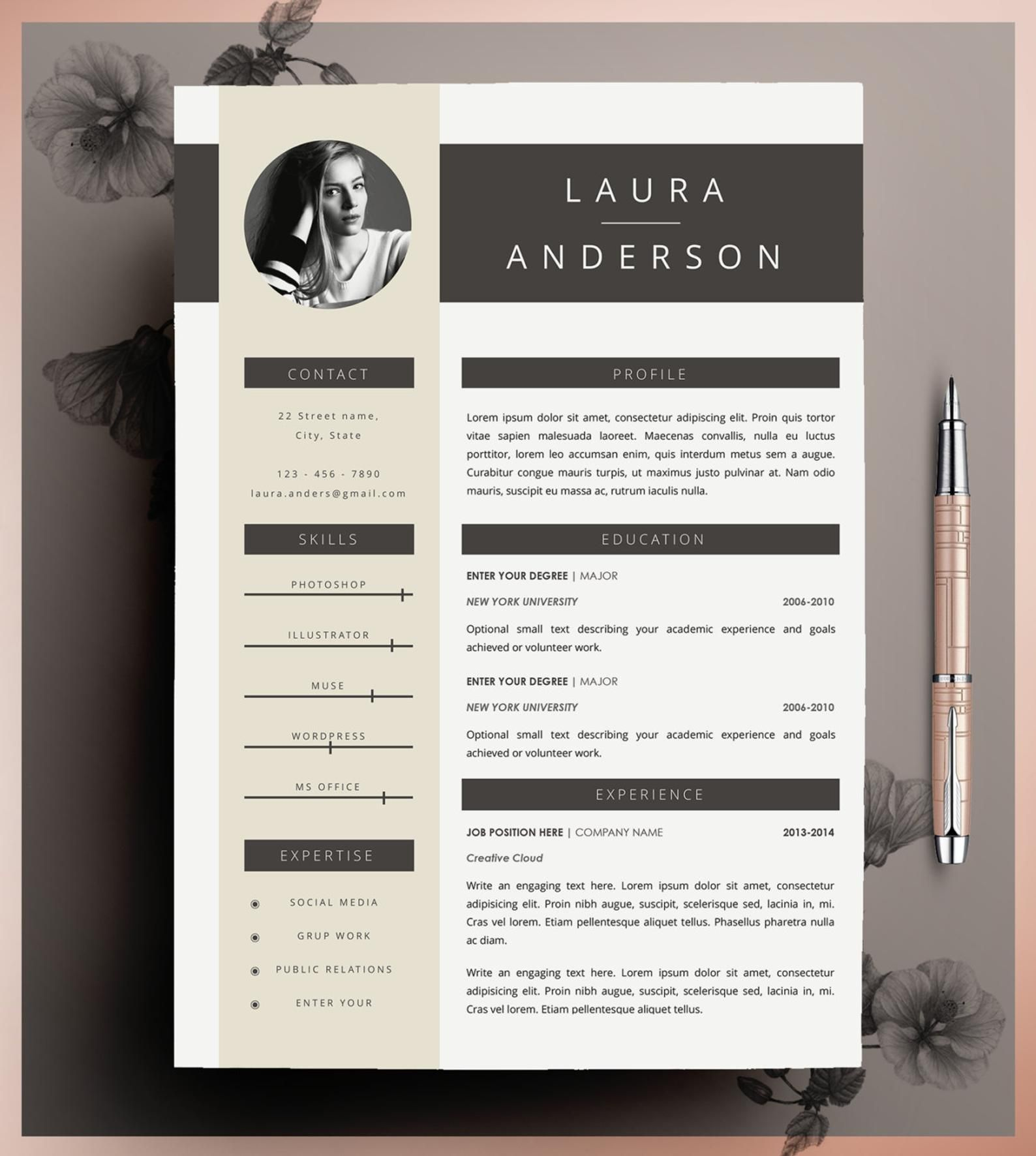 Creative Resume Template Cv Template Instant Download Editable In Ms Word And Pages Cover Letter Size A4 And Us Letter Creative Resume Templates Creative Resume Cv Template