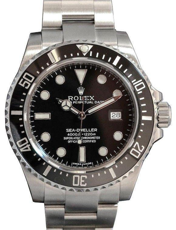 Rolex Sea Dweller 4000 116600 Men S 40mm Black Stainless Steel Oyster Diver Pre Owned Rolex Rolex Submariner Rolex Models