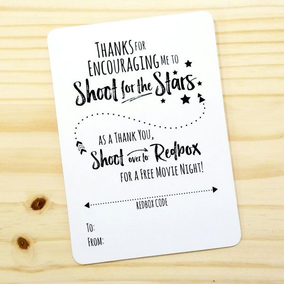Great Printable Movie Night Appreciation Redbox Gift Card Holder   For Teacher,  Counselor, Coach   Thank You   Encouragement  School Year  DIGITAL