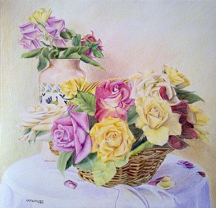 The Roses In Basket Colored Pencil Painting And Conte Charcoal