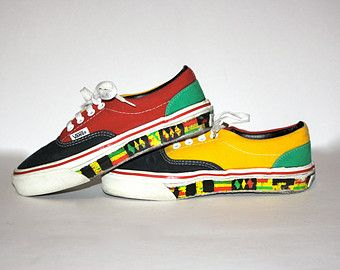 a043228ea766 VINTAGE Rasta VANS Shoes Punk New Wave Skate Sneakers 6.5