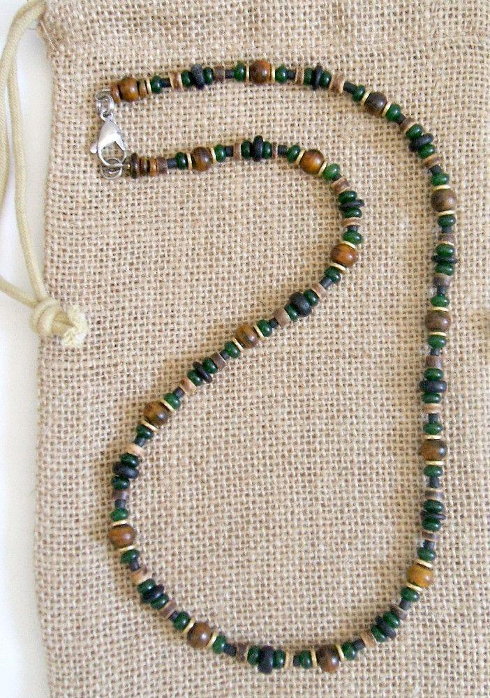 Men's Black Irish Gemstone Beaded Necklace