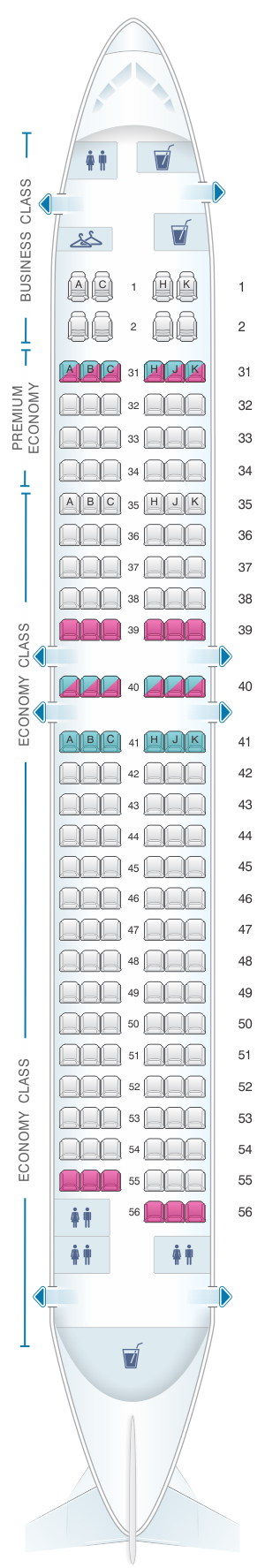 China Eastern Airlines Seat Map on