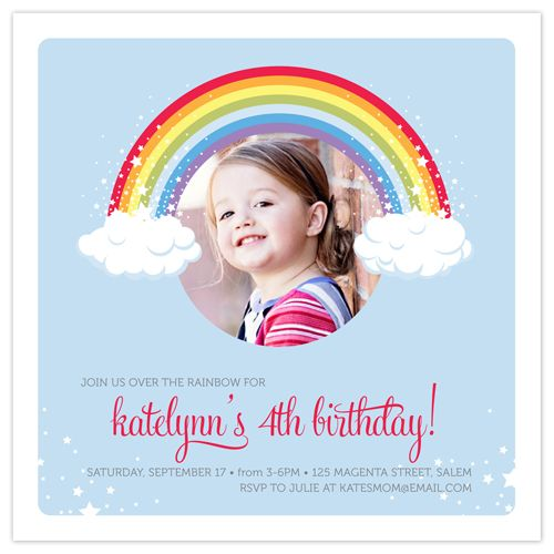 Over The Rainbow Children's Birthday Party Invitation