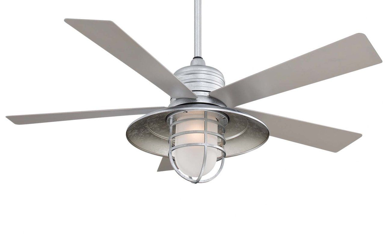 54 Rainman 5 Blade Outdoor Led Standard Ceiling Fan With Remote Control And Light Kit Included Ceiling Fan Ceiling Fan With Light Brushed Nickel Ceiling Fan