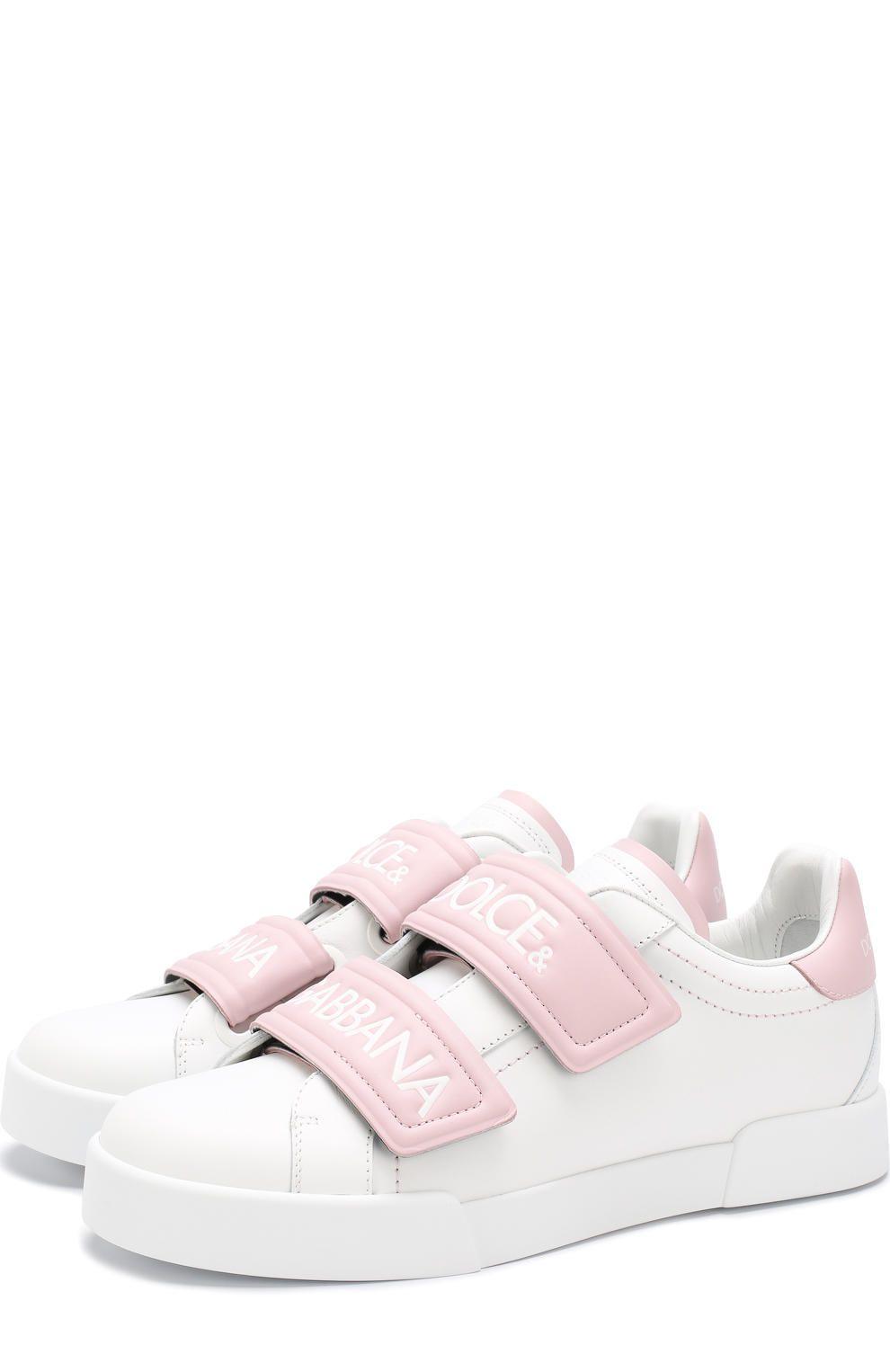 9b748f92 Женские светло-розовые кожаные кеды portofino с застежками велькро DOLCE &  GABBANA — купить за 45750 руб. в интернет-магазине ЦУМ, арт. CK0155/AH361
