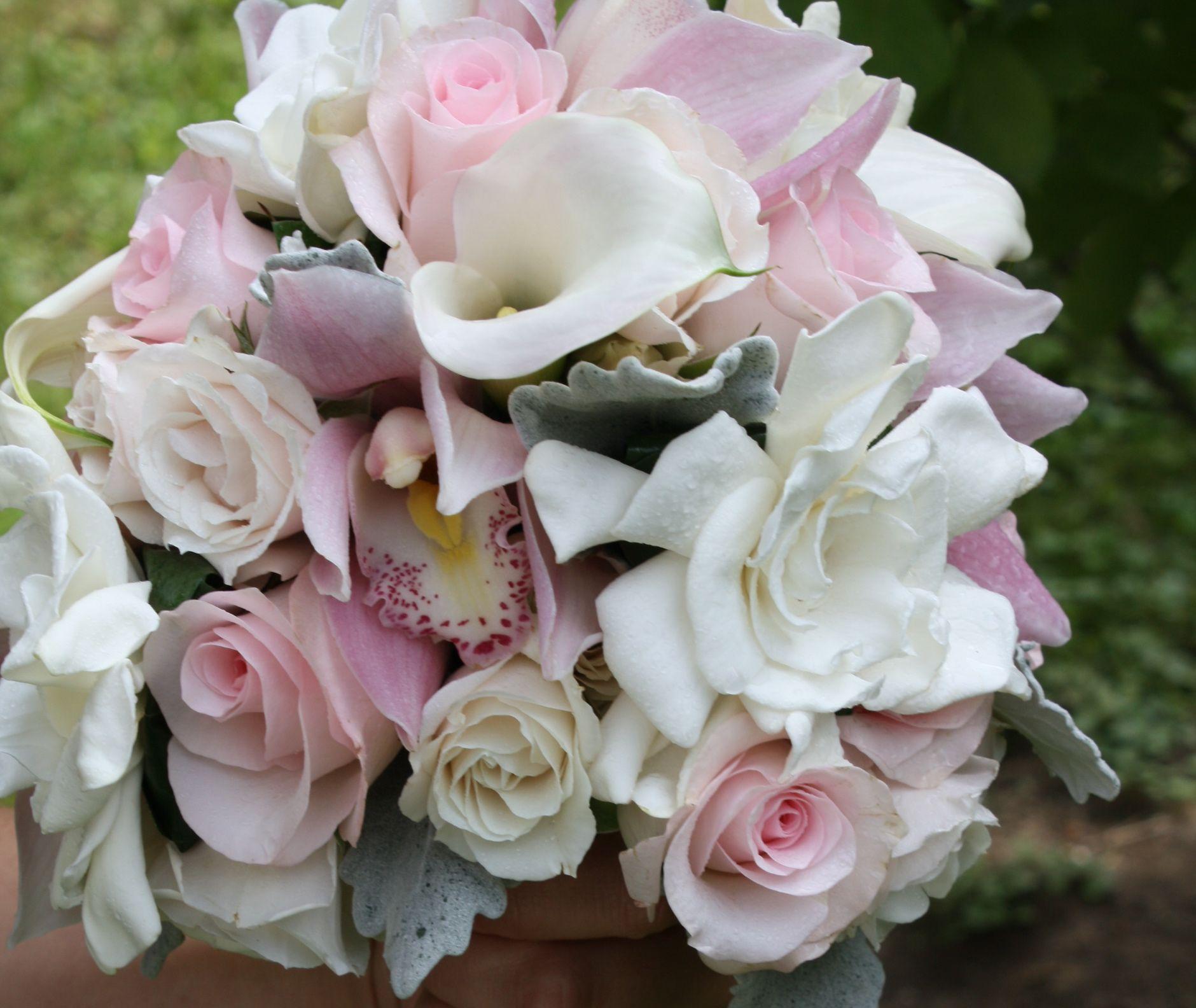 Calla Lily Gardenia Light Pink Rose Cymbidium Orchid Spray