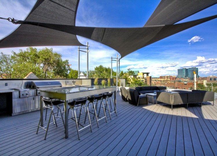 Sonnensegel modern in schwarzer Farbe für die Dachterrasse