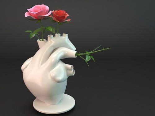 Awesome Flower Pump Vase By Veneri Design Studio Heart Vase Heart Shaped Vase Unusual Vases