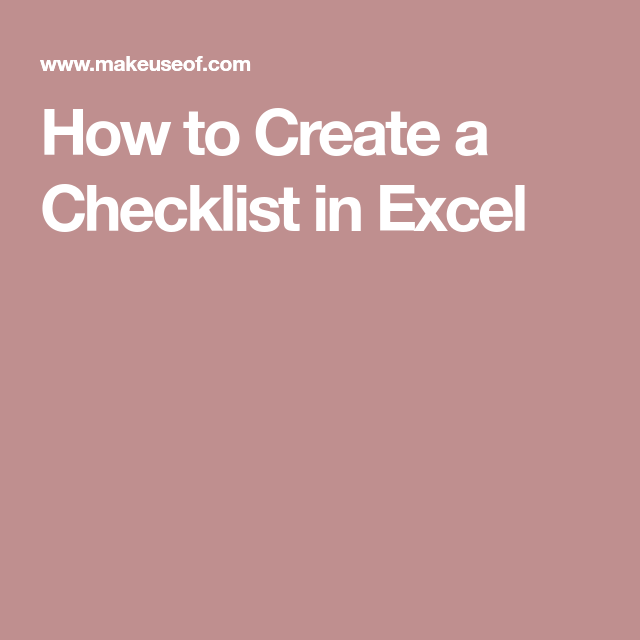how to create an interactive checklist in excel