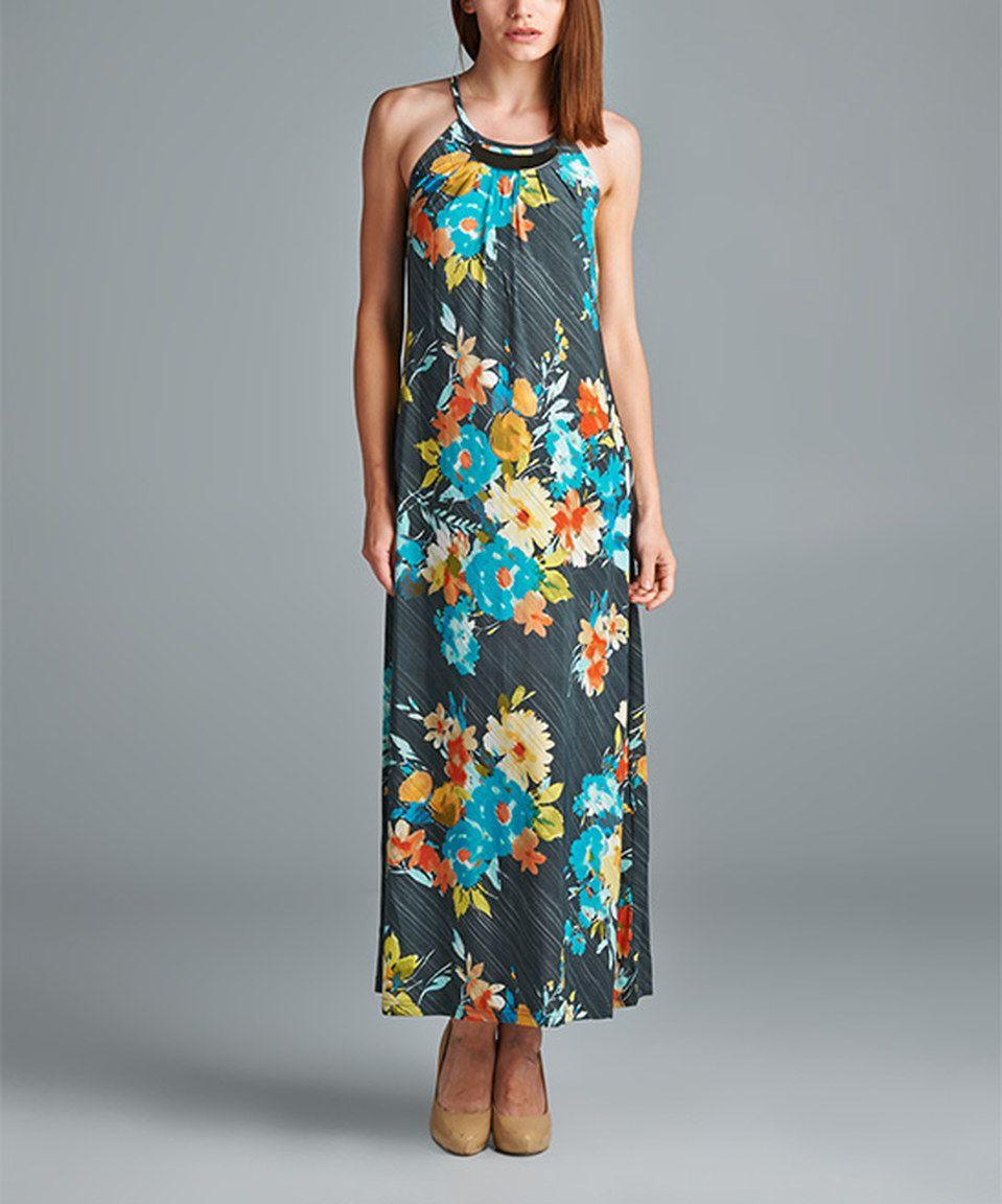 Gray u mint floral maxi dress by mlle gabrielle zulily zulilyfinds