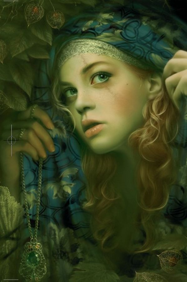 The Player Princess; By Melanie Delon. (blond or strawberry blond, curly hair, green eyes, facial scar, curls, blue scarf, ivy, sneaking, hiding, peeking, necklace pendant green gem, lady, noble woman, celtic, white, caucasion, teen)