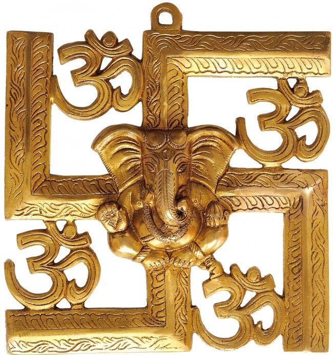 Auspicious Om Aum Ganesha Wall Hanging Brass Statues Ganesha Statue