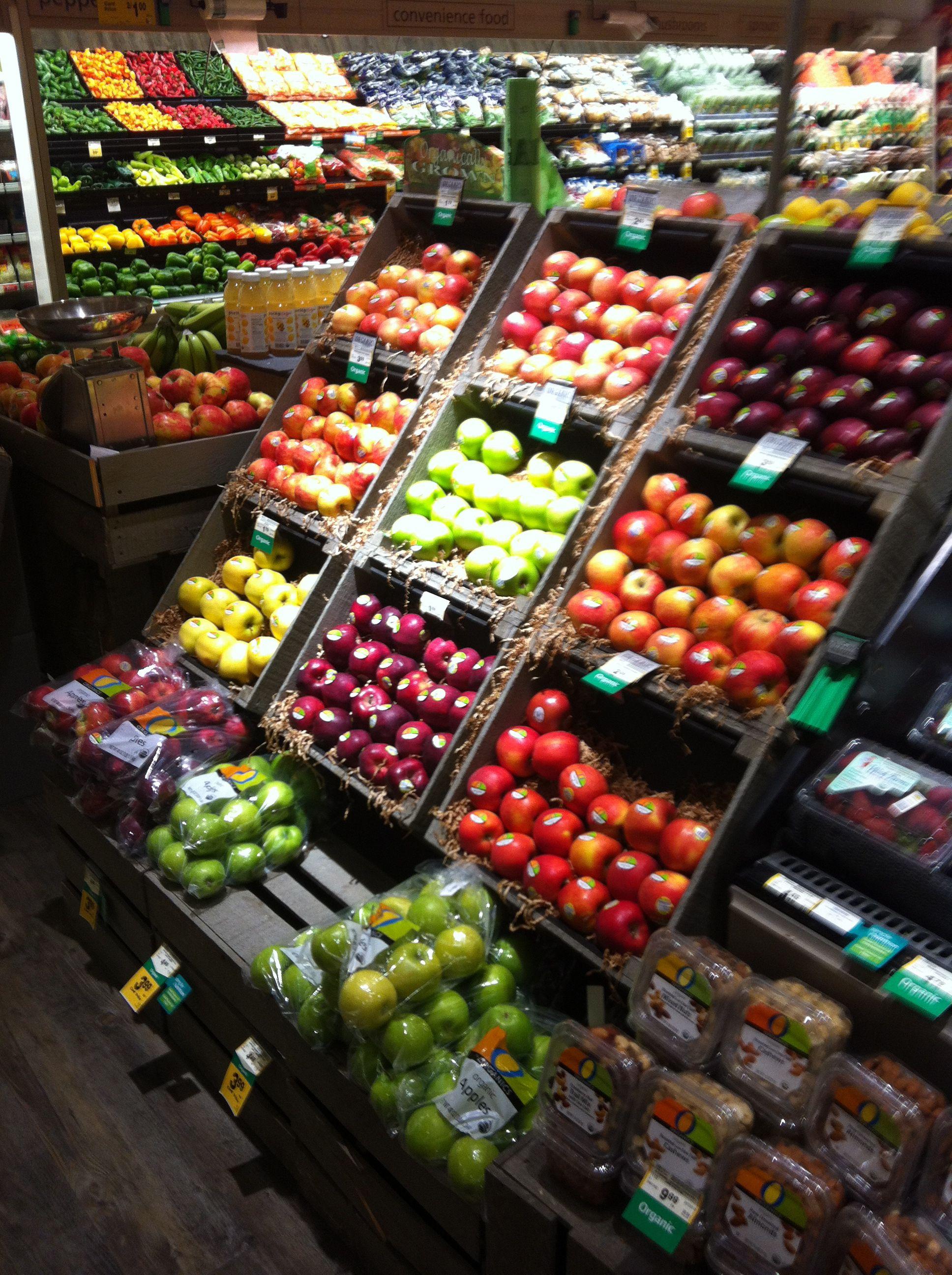 Rainbow display of fresh produce supermarkets