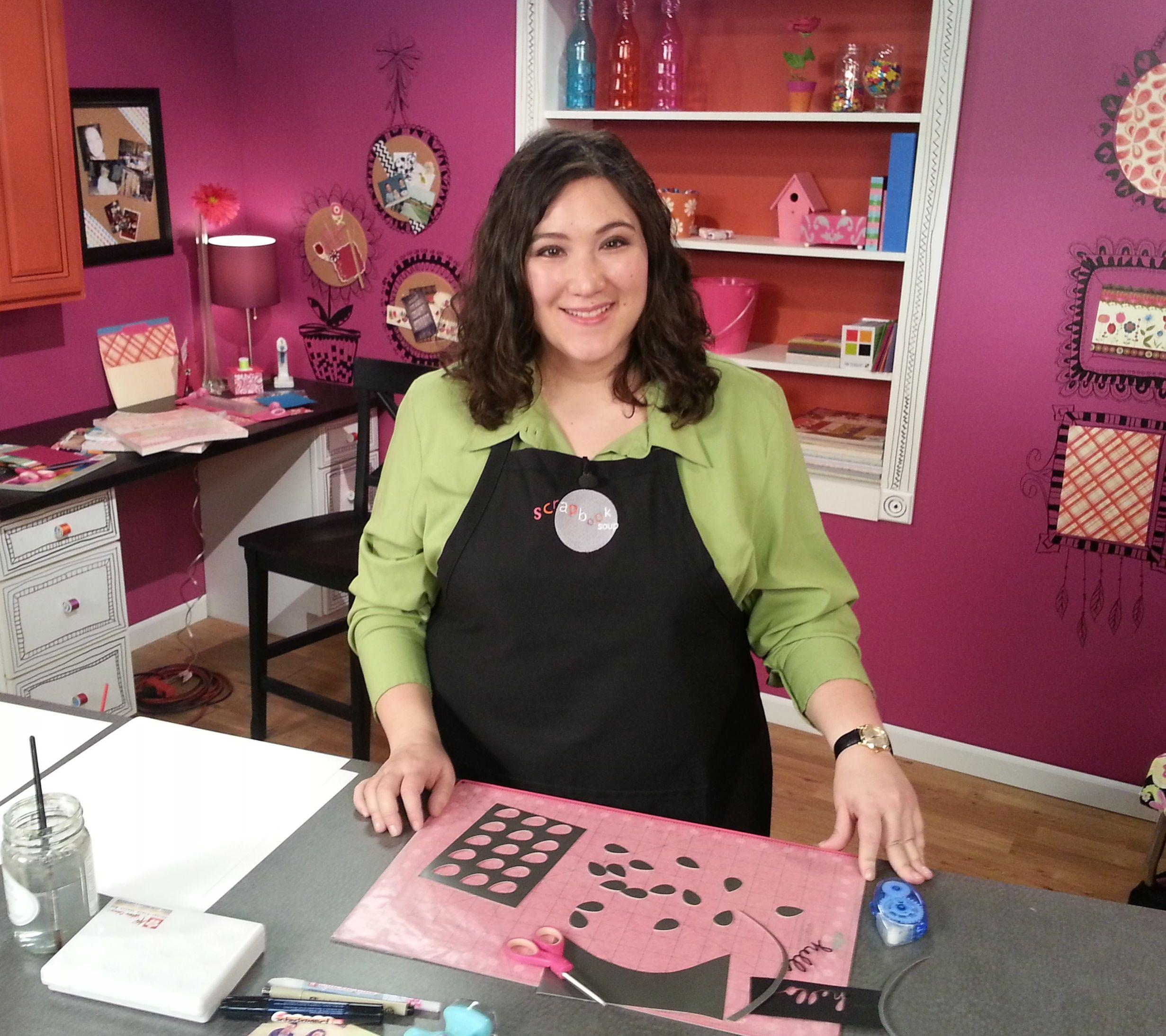 Host Julie Fei-Fan Balzer on the set of Scrapbook Soup  Click here