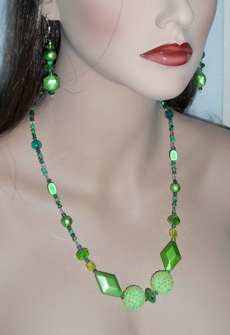 Spring Green Bling Necklace and Earring Set by JaymoJewels on Etsy