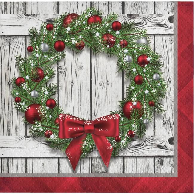 Photo of Rustic Christmas Wreath Beverage Napkins