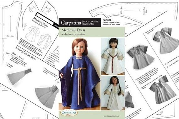 Medieval Doll Dress Paper Pattern in two 18\