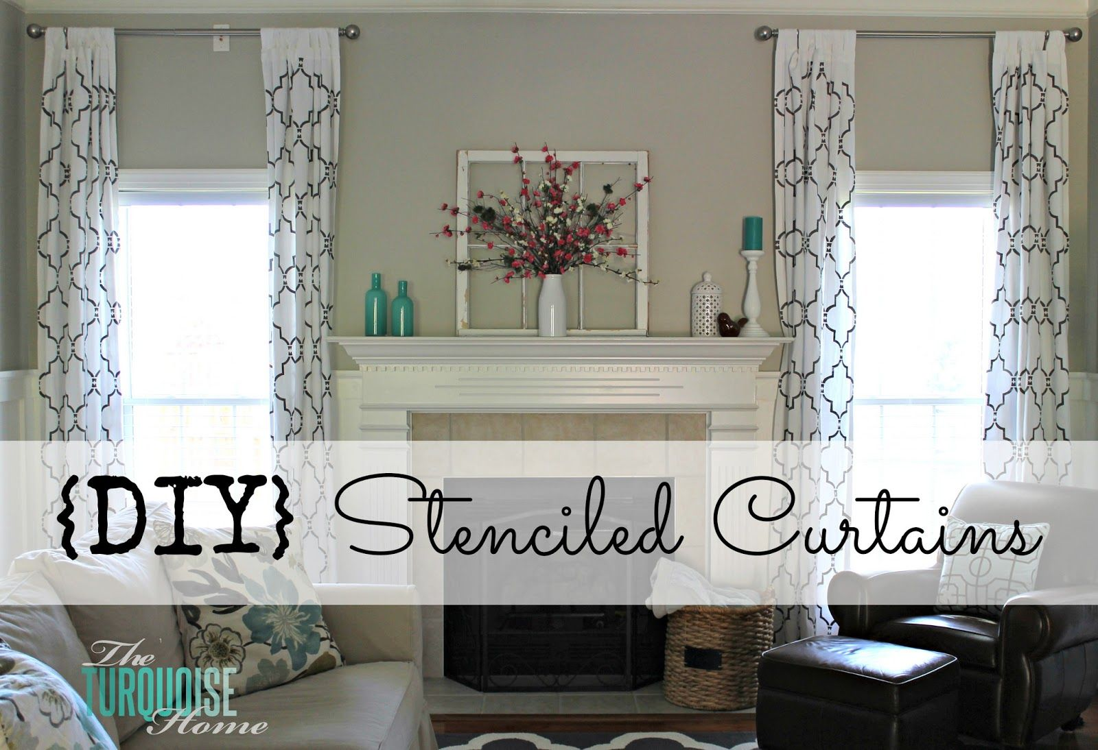 Good How To Stencil Curtains | TheTurquoiseHome.com