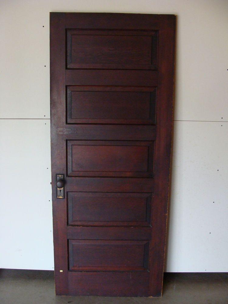 75 Bathroom Door Vintage Antique 5 Panel Interior Door W Brass Hardware 32 X 79 Doors Interior Paneling Interior