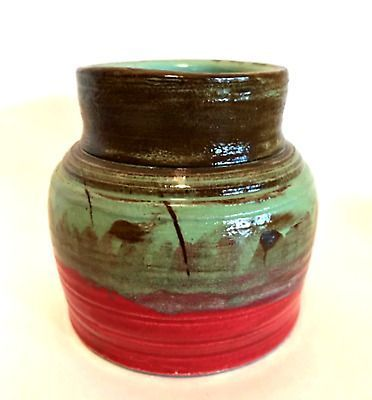 Snap Shots tall pottery vase Suggestions Deer Run Pottery Vase 2009 Handcrafted Glazed Green Red Brown 5 inches Tall  eBay Best Snap Shots tall pottery vase Suggestions D...