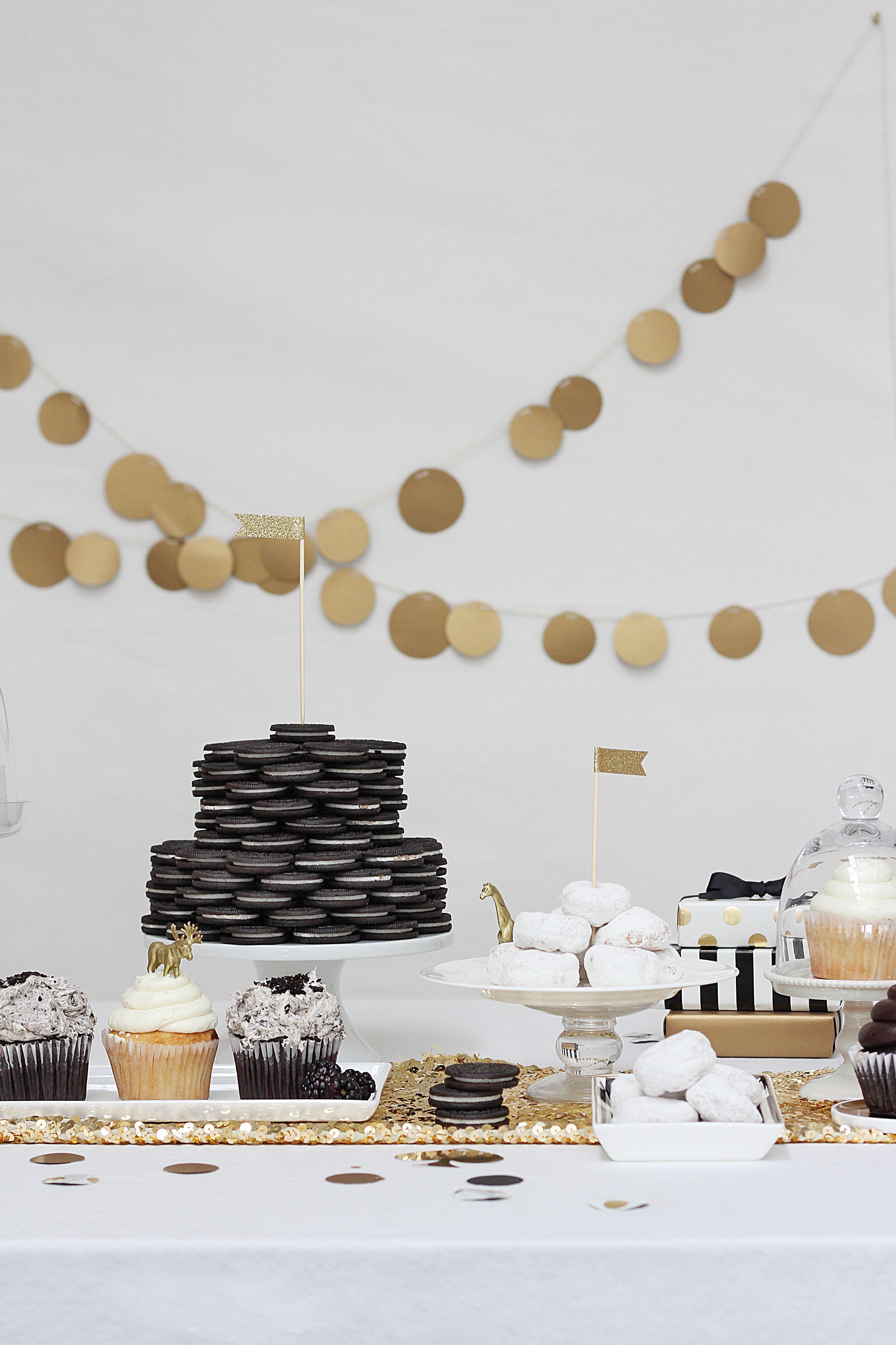 Black White Birthday Party Gold Dessert Black White