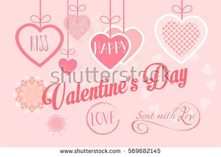 Happy Valentines Day greeting card Vector template Hand Drawn - greeting card template