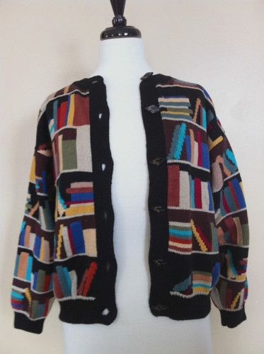 Christine Foley Cardigan Sweater Book Books Size 1 Small Library