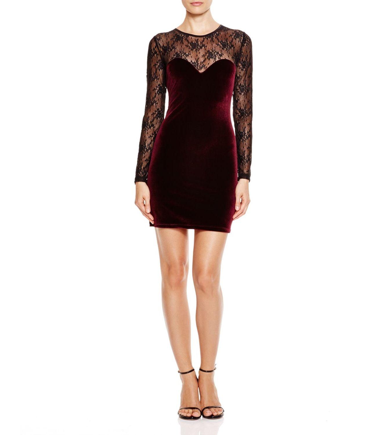 AQUA Velvet Lace Illusion BodyCon Dress. Taille M. REF 3465/M.